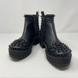 Spiky Black Faux Leather Spikes Studs Boots 7M